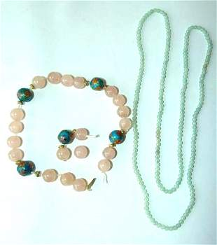 LOT (2) CHINESE CELADON JADE/PINK  NECKLACES