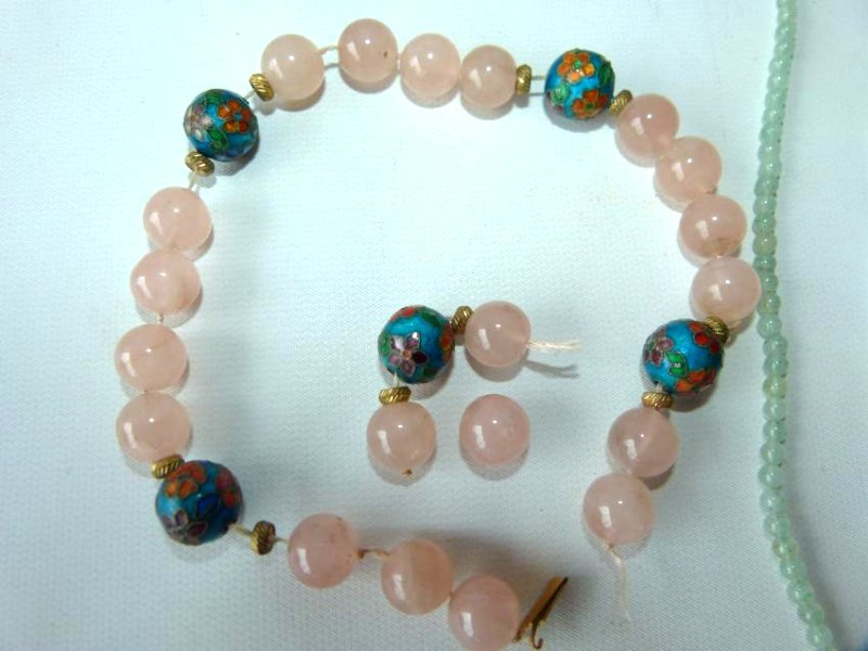 LOT (2) CHINESE CELADON JADE/PINK  NECKLACES - 2