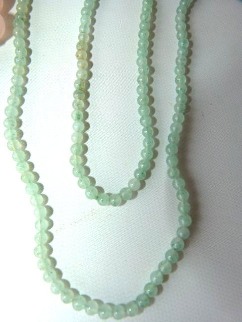 LOT (2) CHINESE CELADON JADE/PINK  NECKLACES - 3