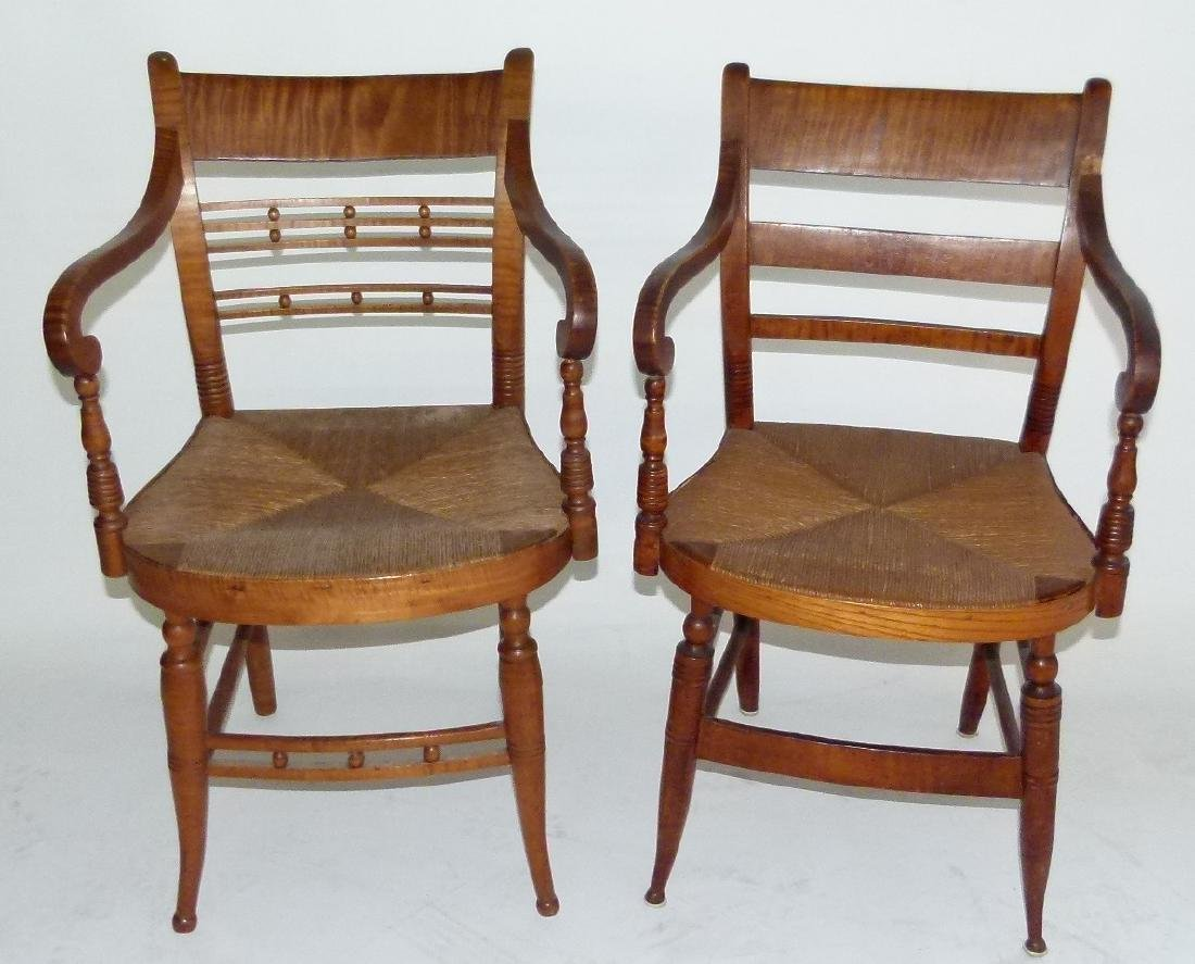 LOT (2) SHERATON TIGER MAPLE ARMCHAIRS C. 1820