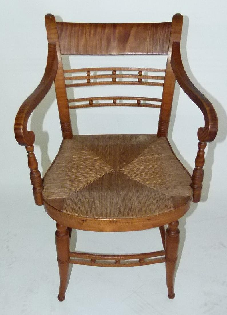 LOT (2) SHERATON TIGER MAPLE ARMCHAIRS C. 1820 - 2