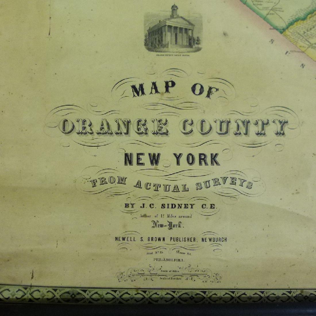 ORANGE COUNTY NEW YORK MAP, SIDNEY 1850