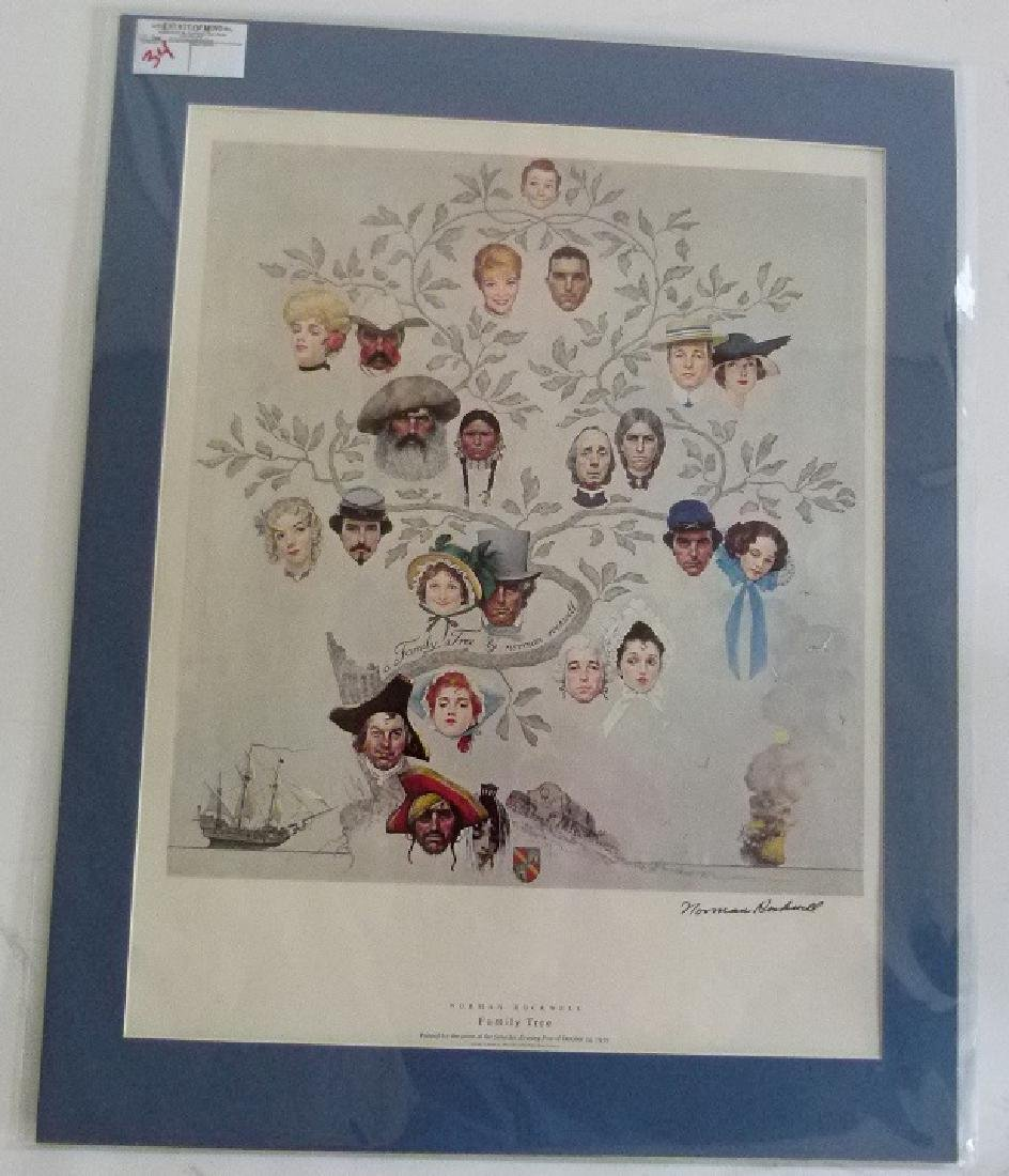 """PRINT  NORMAN ROCKWELL """"FAMILY TREE"""" SIGNED"""