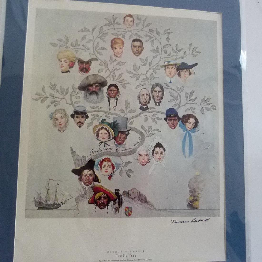"""PRINT  NORMAN ROCKWELL """"FAMILY TREE"""" SIGNED - 2"""