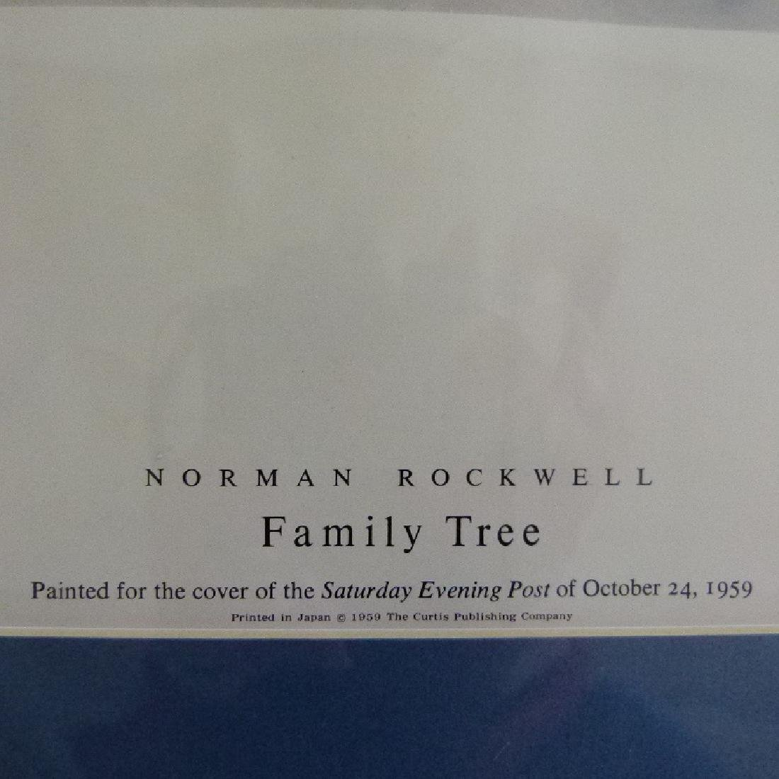 """PRINT  NORMAN ROCKWELL """"FAMILY TREE"""" SIGNED - 3"""