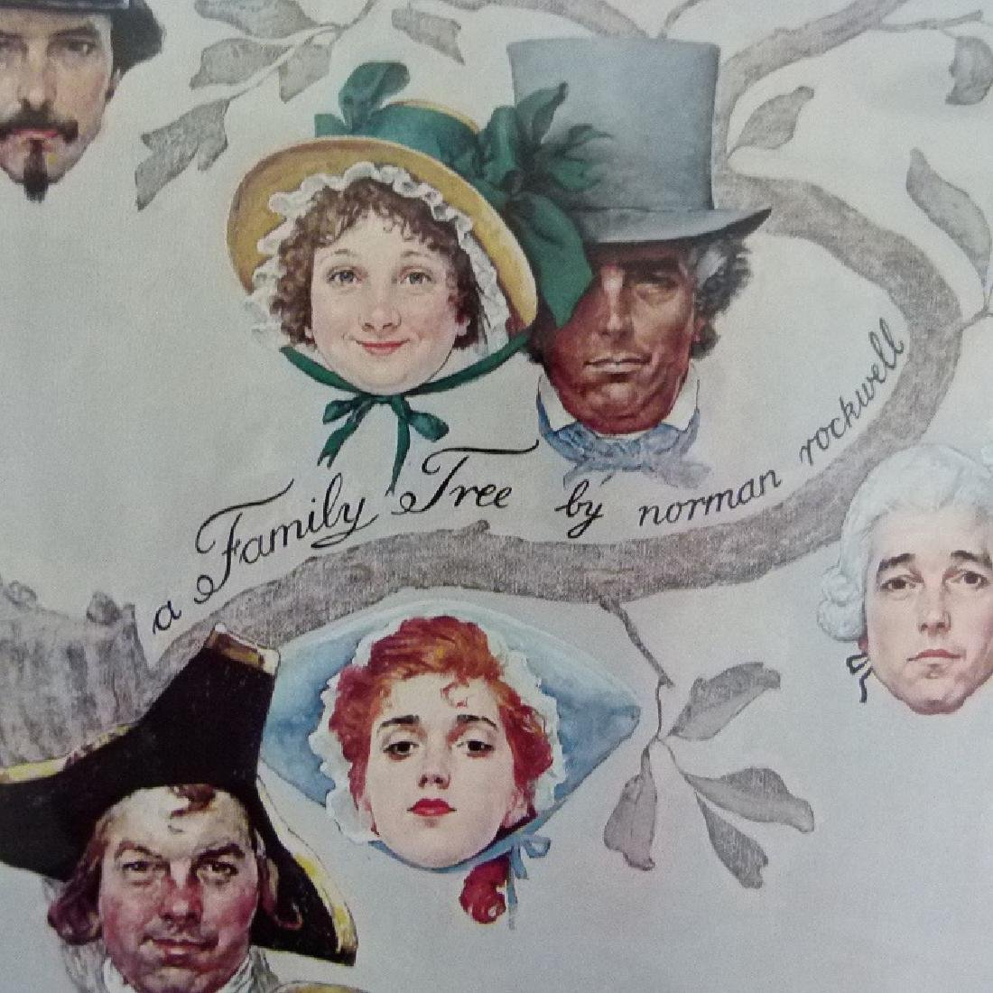 """PRINT  NORMAN ROCKWELL """"FAMILY TREE"""" SIGNED - 5"""