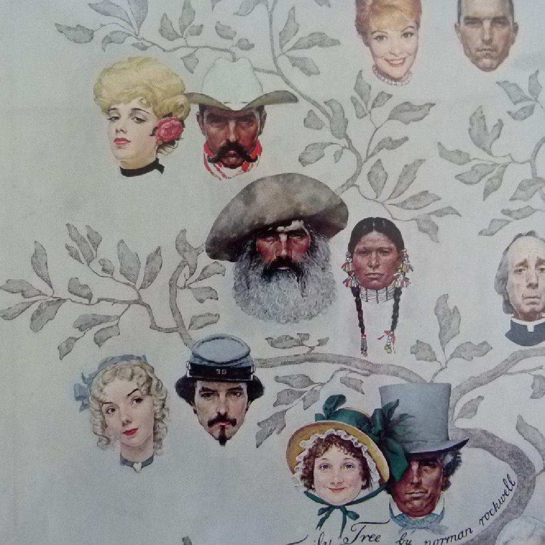 """PRINT  NORMAN ROCKWELL """"FAMILY TREE"""" SIGNED - 7"""