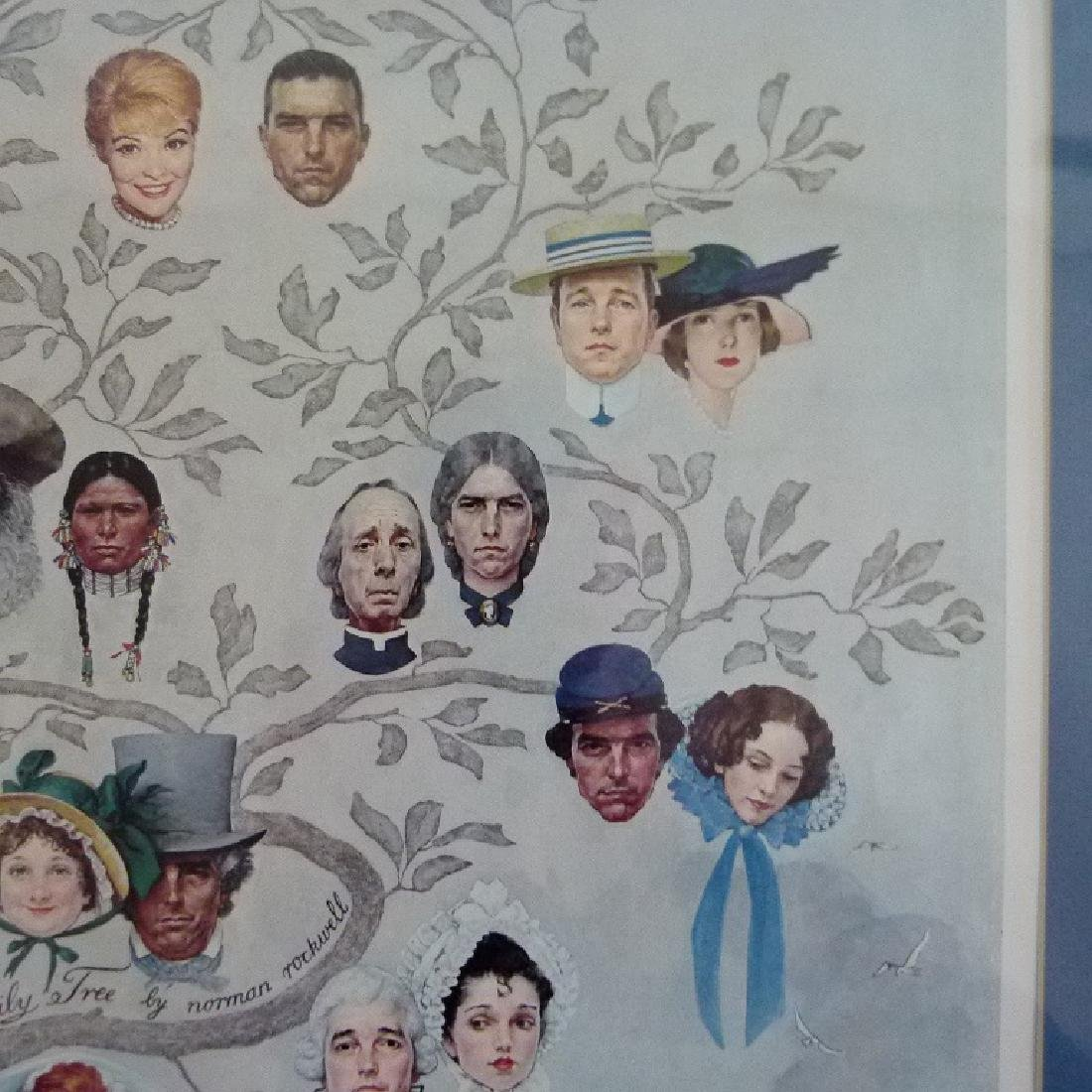 """PRINT  NORMAN ROCKWELL """"FAMILY TREE"""" SIGNED - 8"""