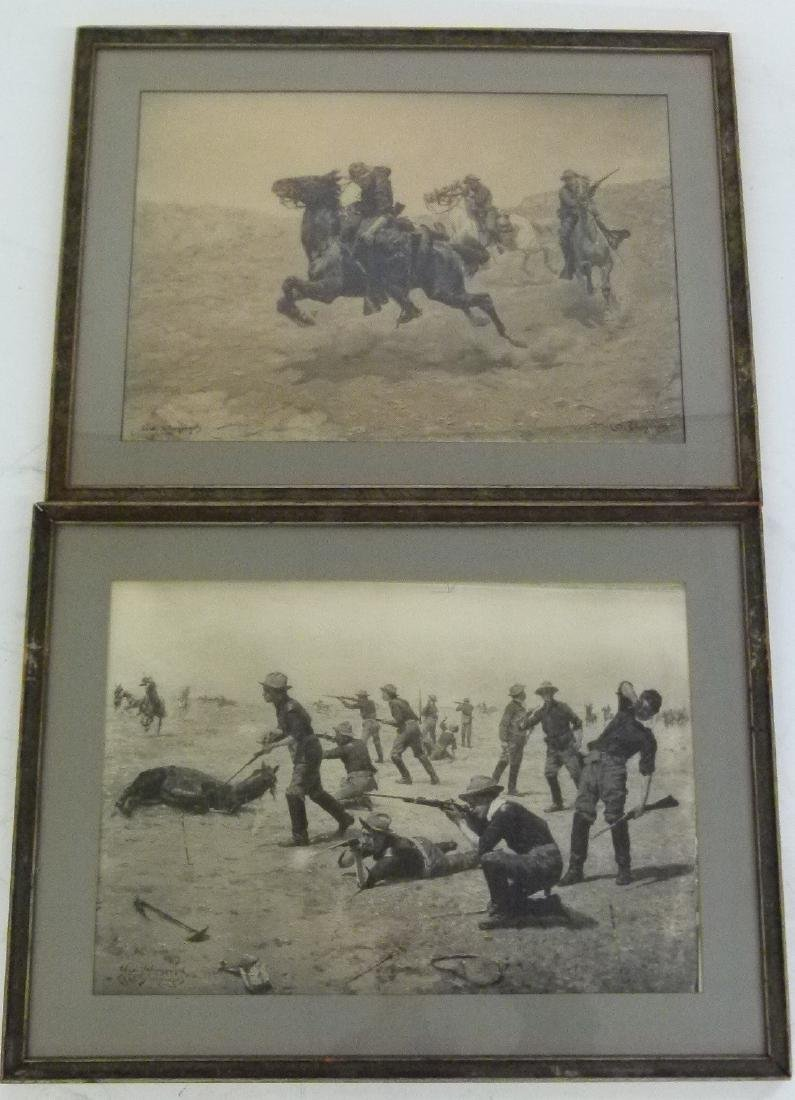 LOT (2) LITHO'S INDIAN WARS SIGNED INK/PLATE