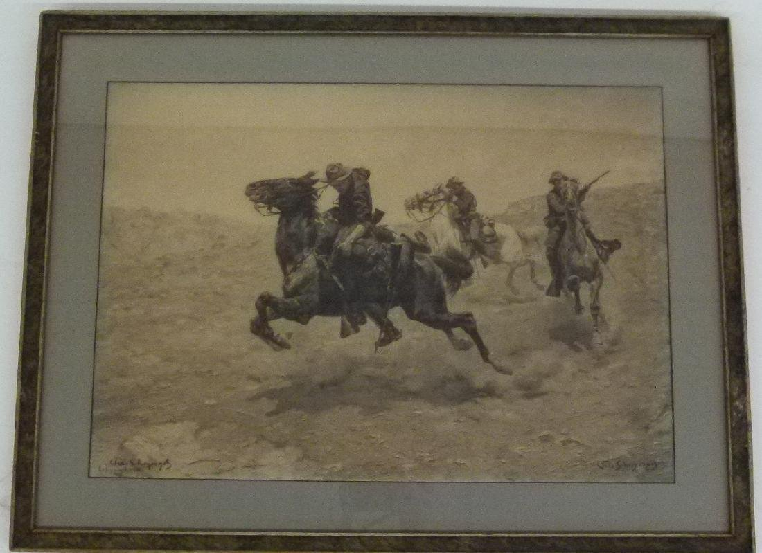 LOT (2) LITHO'S INDIAN WARS SIGNED INK/PLATE - 2