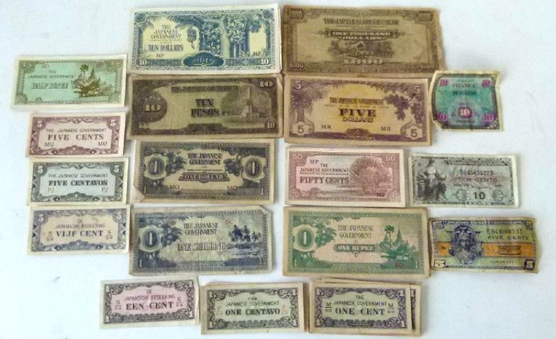 LOT WW II JAPANESE  INVASION CURRENCY, C. 1945
