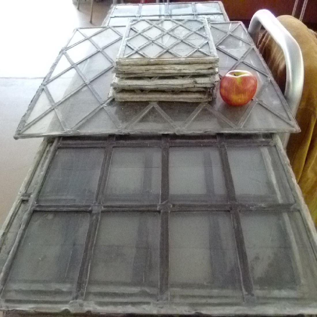 LOT ASSORT. MISSION STYLE LEADED GLASS WINDOWS - 2