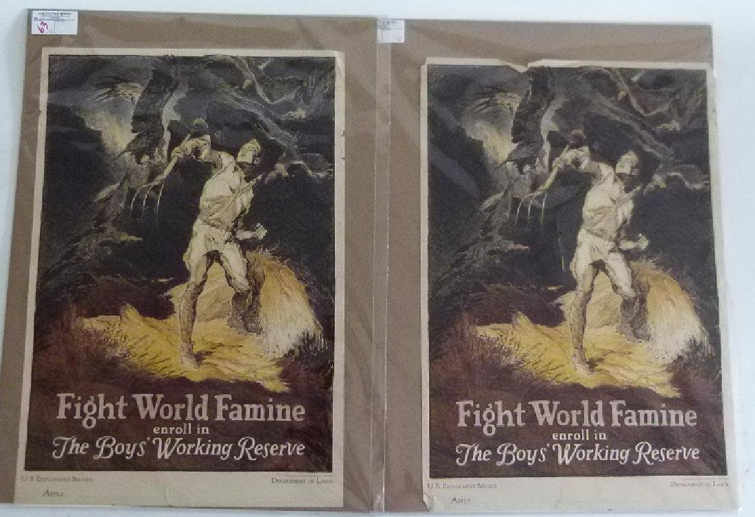 """LOT (2) LITHOS-POSTERS """"FIGHT WORLD FAMINE"""""""