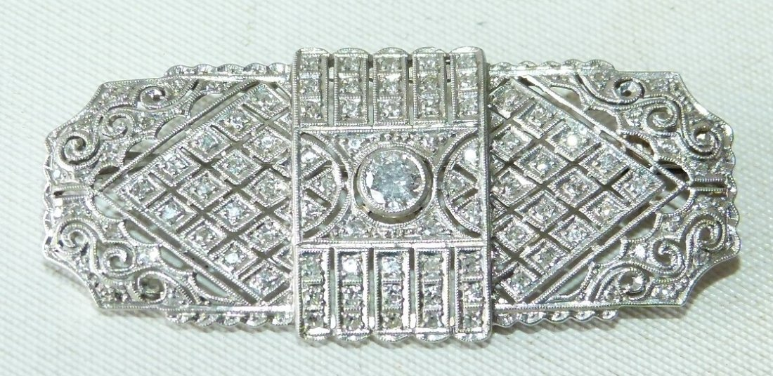 ART DECO 18KT WHITE GOLD/DIAMOND BROACH