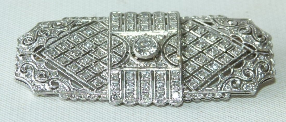 ART DECO 18KT WHITE GOLD/DIAMOND BROACH - 2