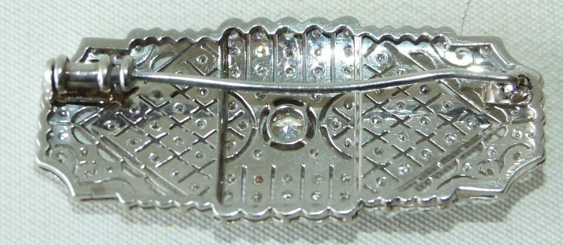 ART DECO 18KT WHITE GOLD/DIAMOND BROACH - 3
