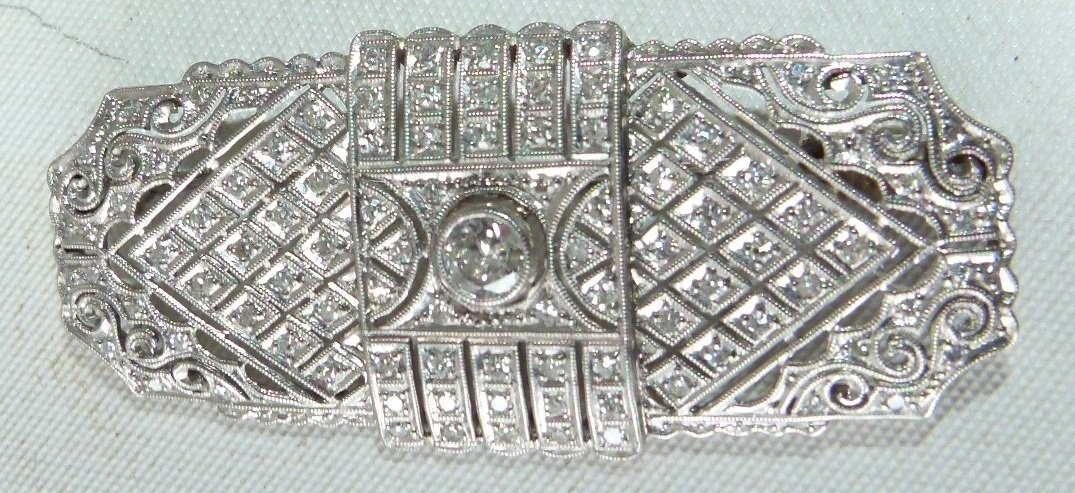 ART DECO 18KT WHITE GOLD/DIAMOND BROACH - 6