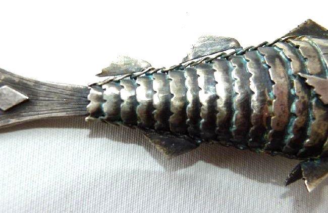 RARE JUDAICA BESAMIN SILVER SCULPTED FISH - 3