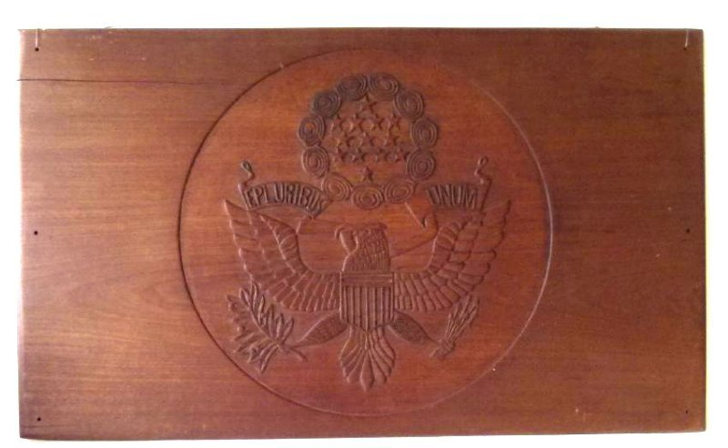 LARGE FOLK ART CARVED WALNUT PLAQUE