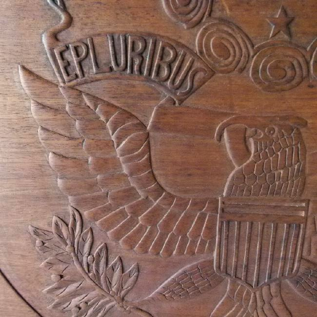 LARGE FOLK ART CARVED WALNUT PLAQUE - 4
