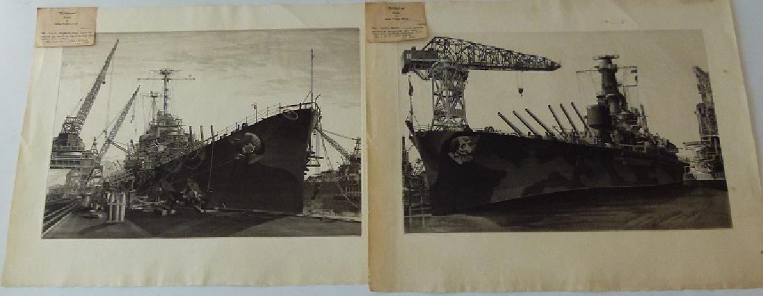 LOT (2) ETCHINGS, DOCKED SHIPS, JOHN TAYLOR ARMS