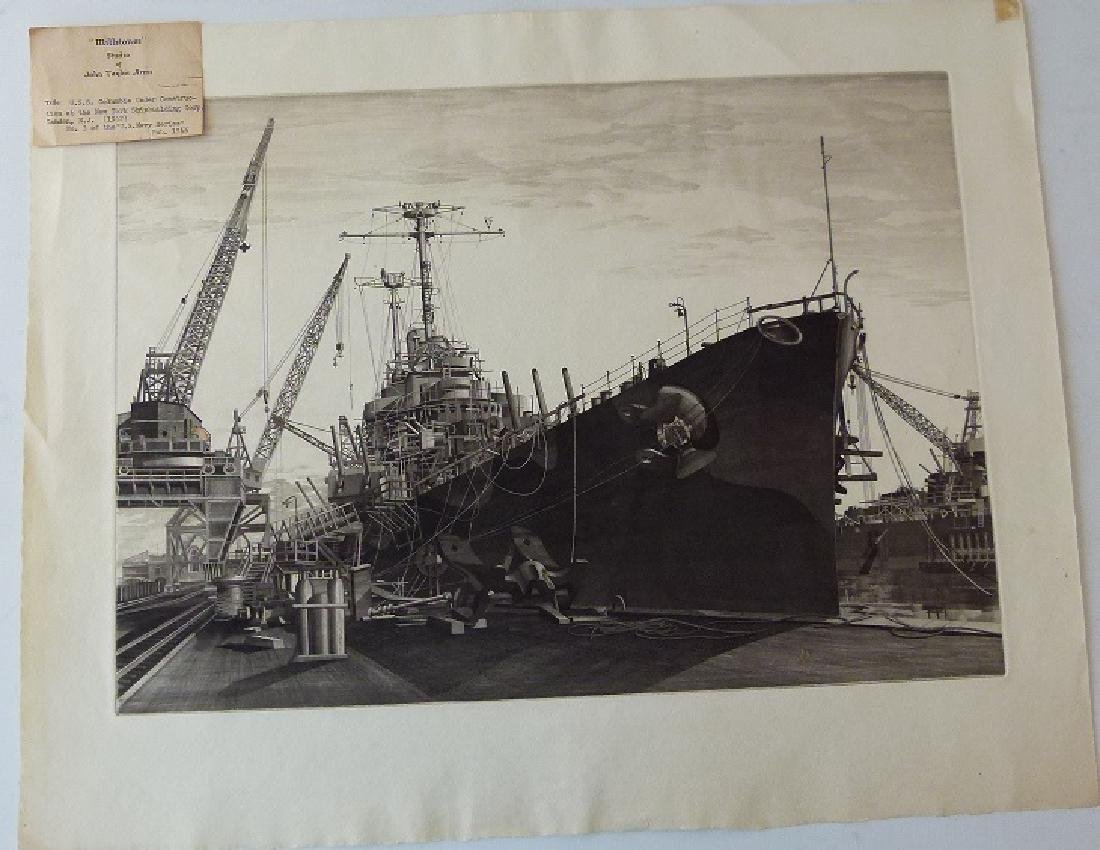 LOT (2) ETCHINGS, DOCKED SHIPS, JOHN TAYLOR ARMS - 3