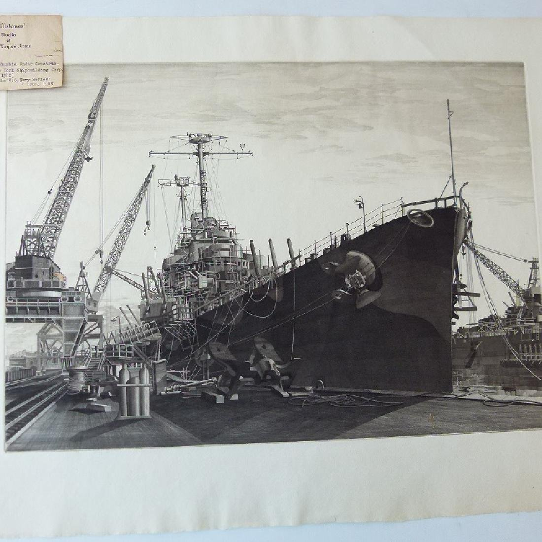 LOT (2) ETCHINGS, DOCKED SHIPS, JOHN TAYLOR ARMS - 4