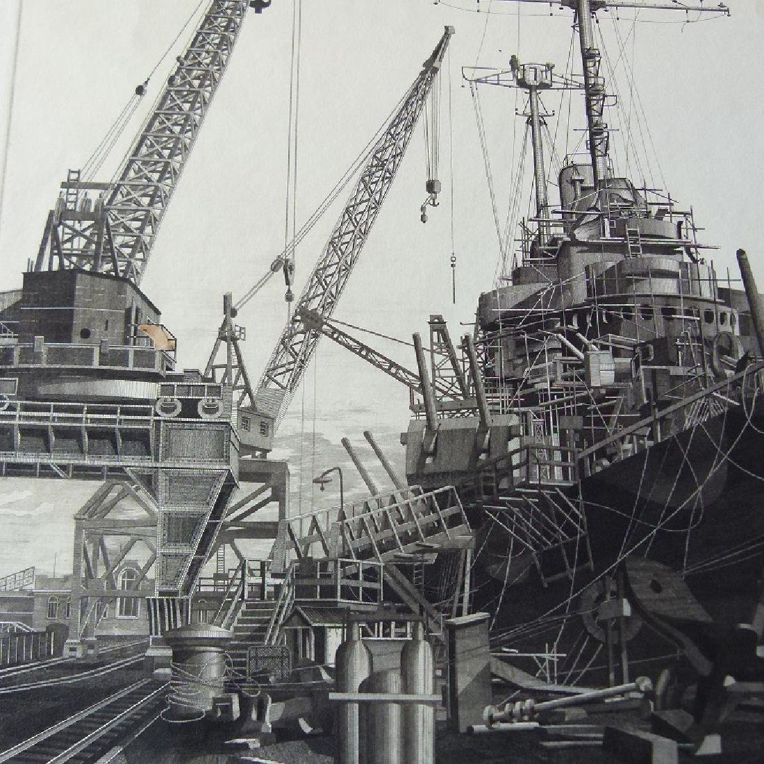 LOT (2) ETCHINGS, DOCKED SHIPS, JOHN TAYLOR ARMS - 5