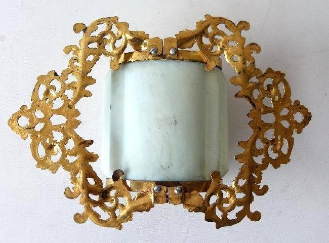 WAVE CREST H/P FLORAL GLASS BRUSH/COMB - 7
