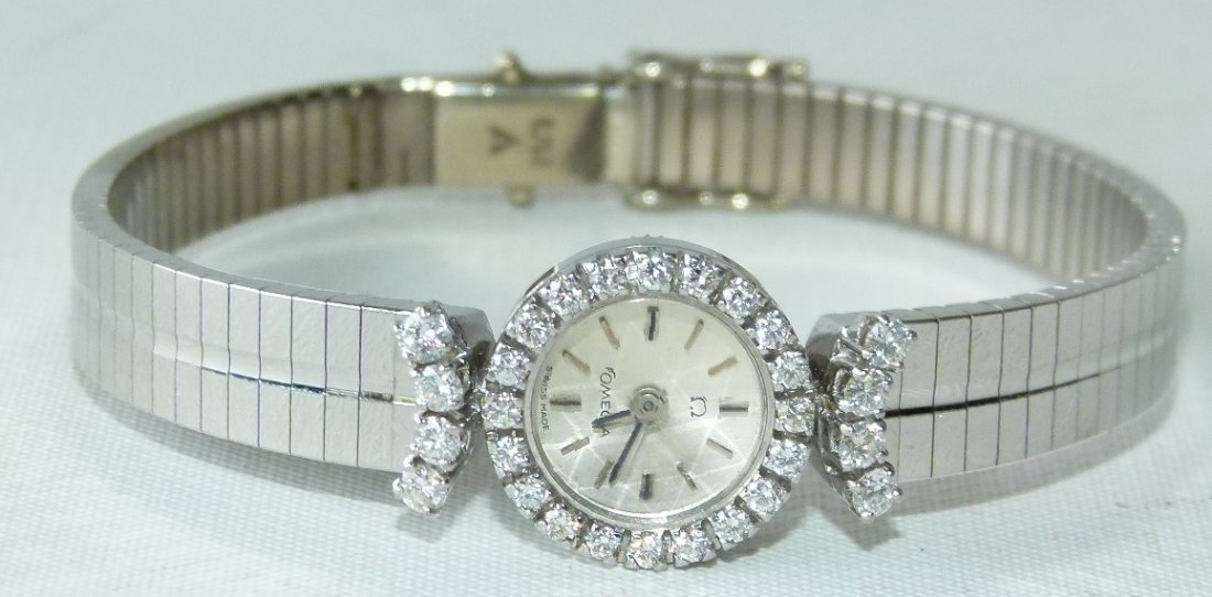 OMEGA 18KT WHITE GOLD/DIAMOND LADIES WRIST WATCH - 2