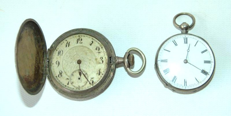 LOT (2) FRENCH COIN SILVER POCKET WATCHES