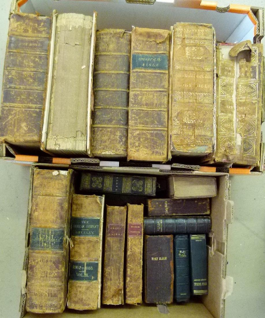 LARGE LOT VAIL FAMILY HOLY BIBLES, 18/19TH C.