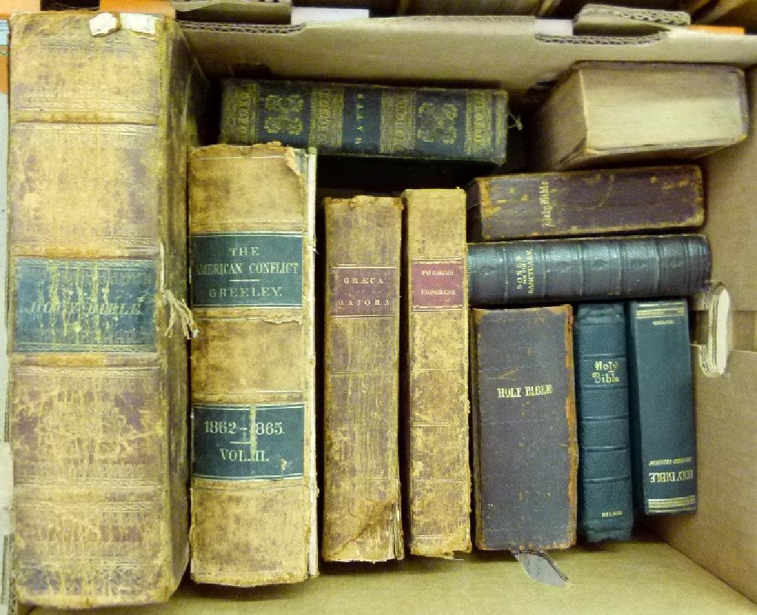 LARGE LOT VAIL FAMILY HOLY BIBLES, 18/19TH C. - 2