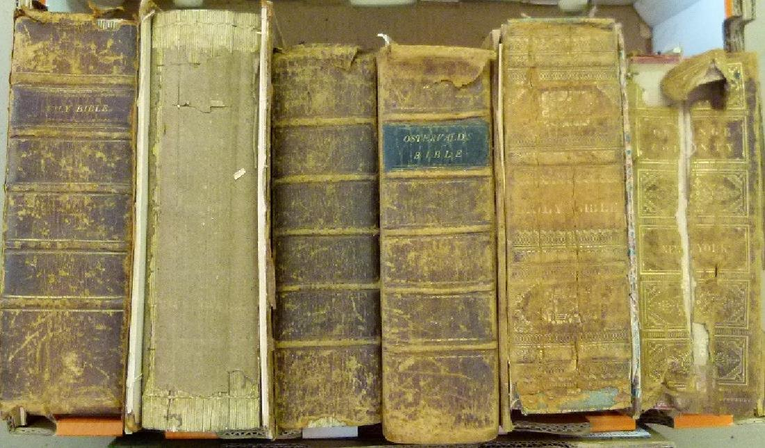 LARGE LOT VAIL FAMILY HOLY BIBLES, 18/19TH C. - 3