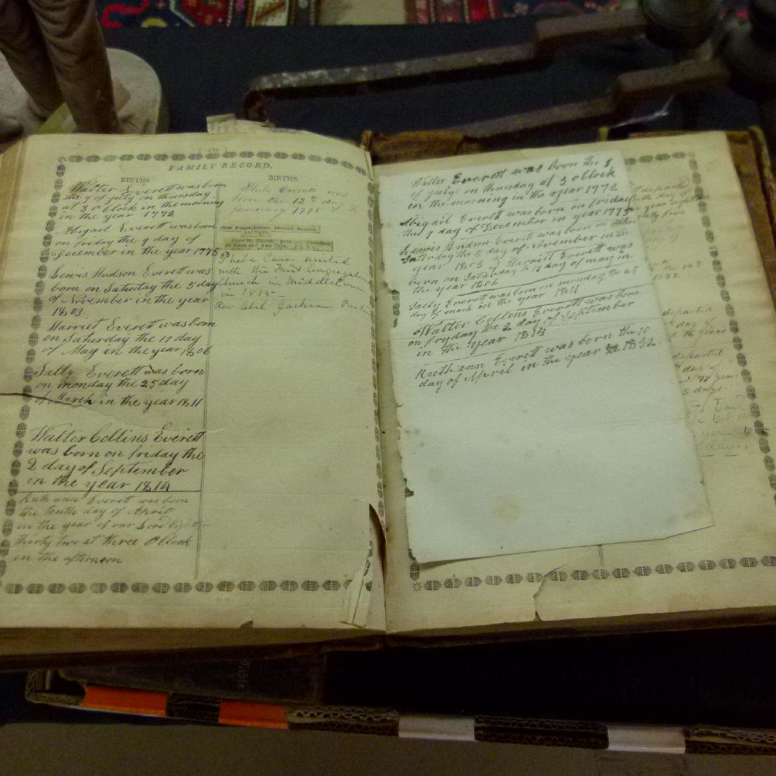 LARGE LOT VAIL FAMILY HOLY BIBLES, 18/19TH C. - 6