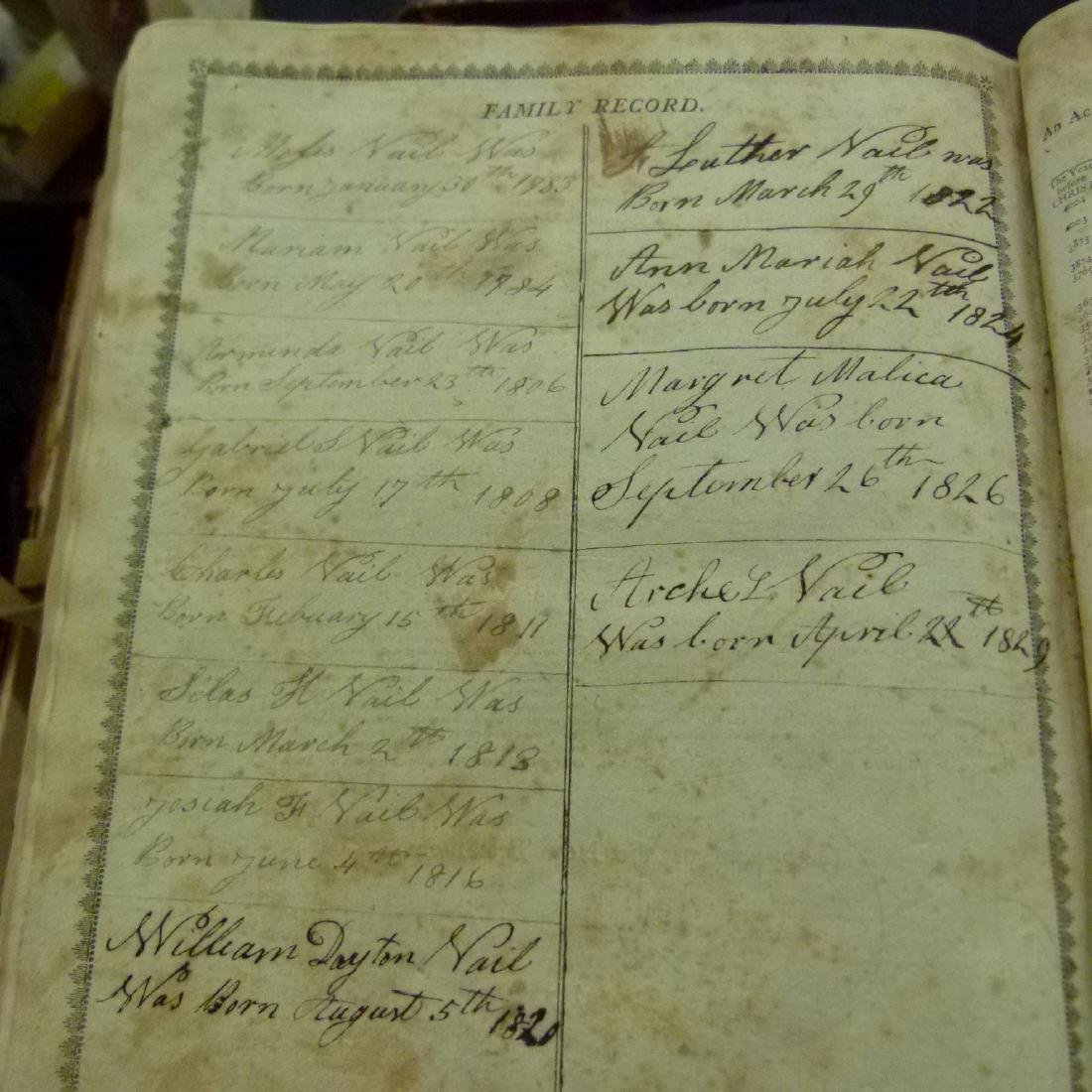 LARGE LOT VAIL FAMILY HOLY BIBLES, 18/19TH C. - 7