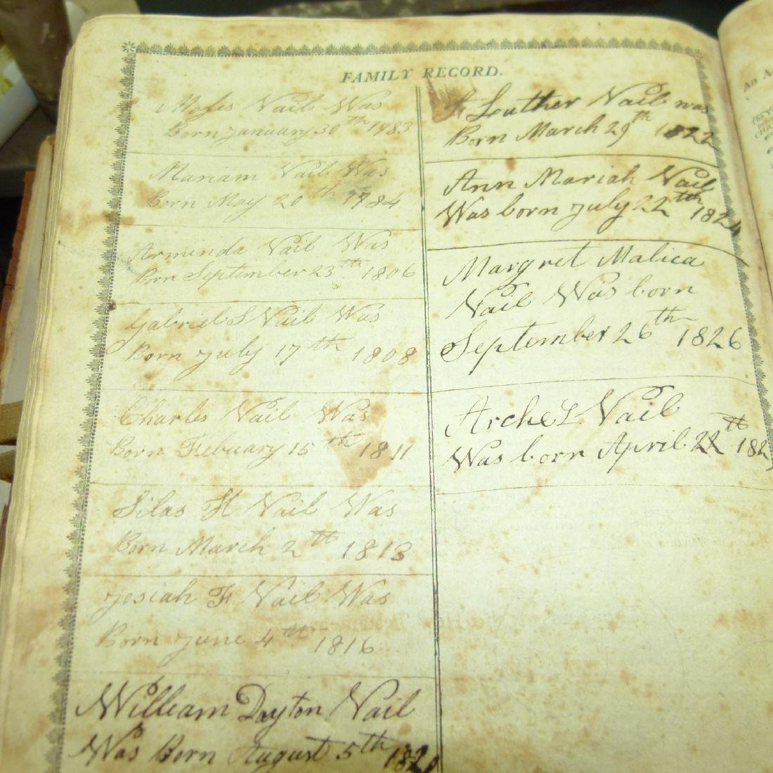 LARGE LOT VAIL FAMILY HOLY BIBLES, 18/19TH C. - 8