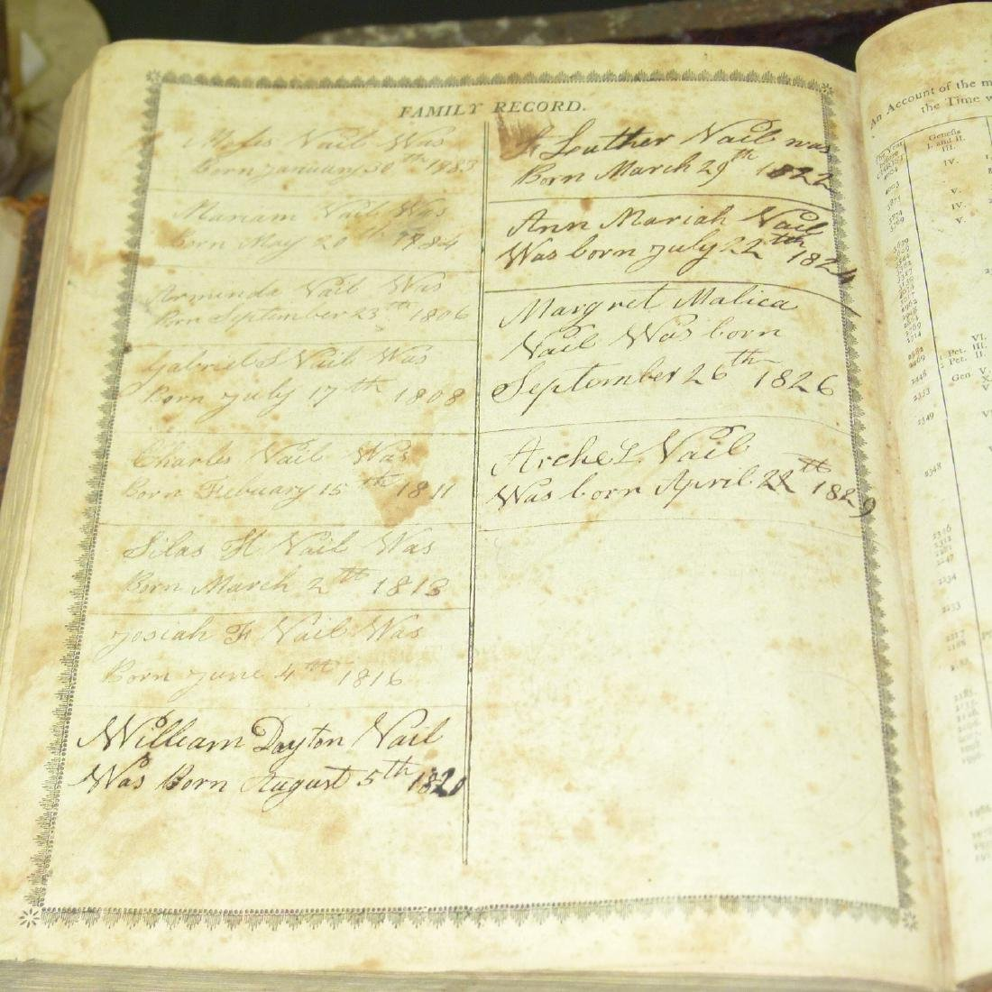 LARGE LOT VAIL FAMILY HOLY BIBLES, 18/19TH C. - 9