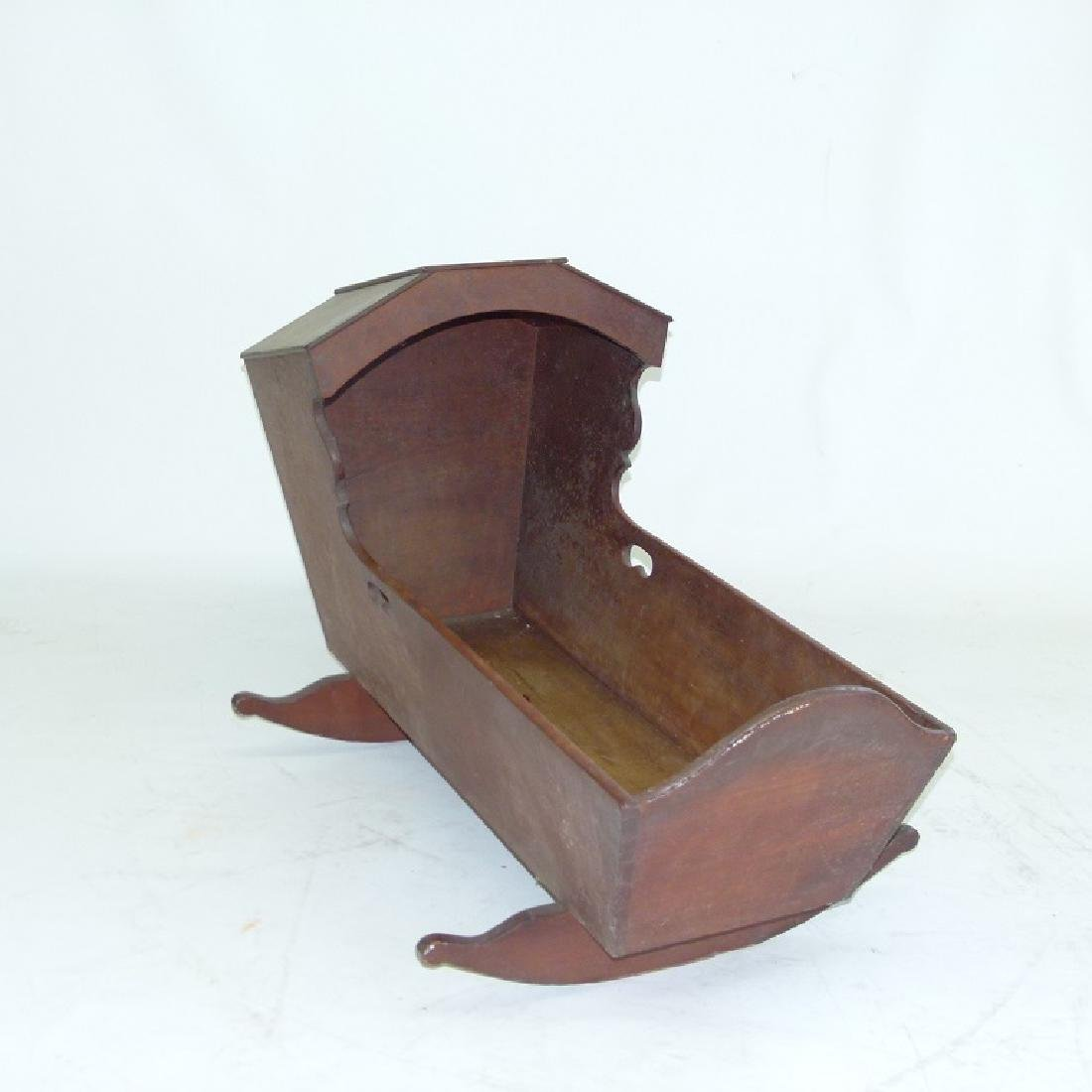 PA CARVED BLACK WALNUT HOODED CRADLE - 2