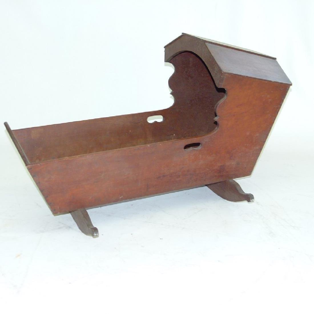PA CARVED BLACK WALNUT HOODED CRADLE - 3
