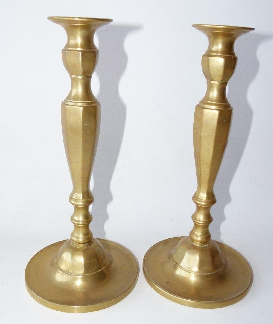 PAIR REGENCY BRASS CANDLESTICKS, 19TH C.