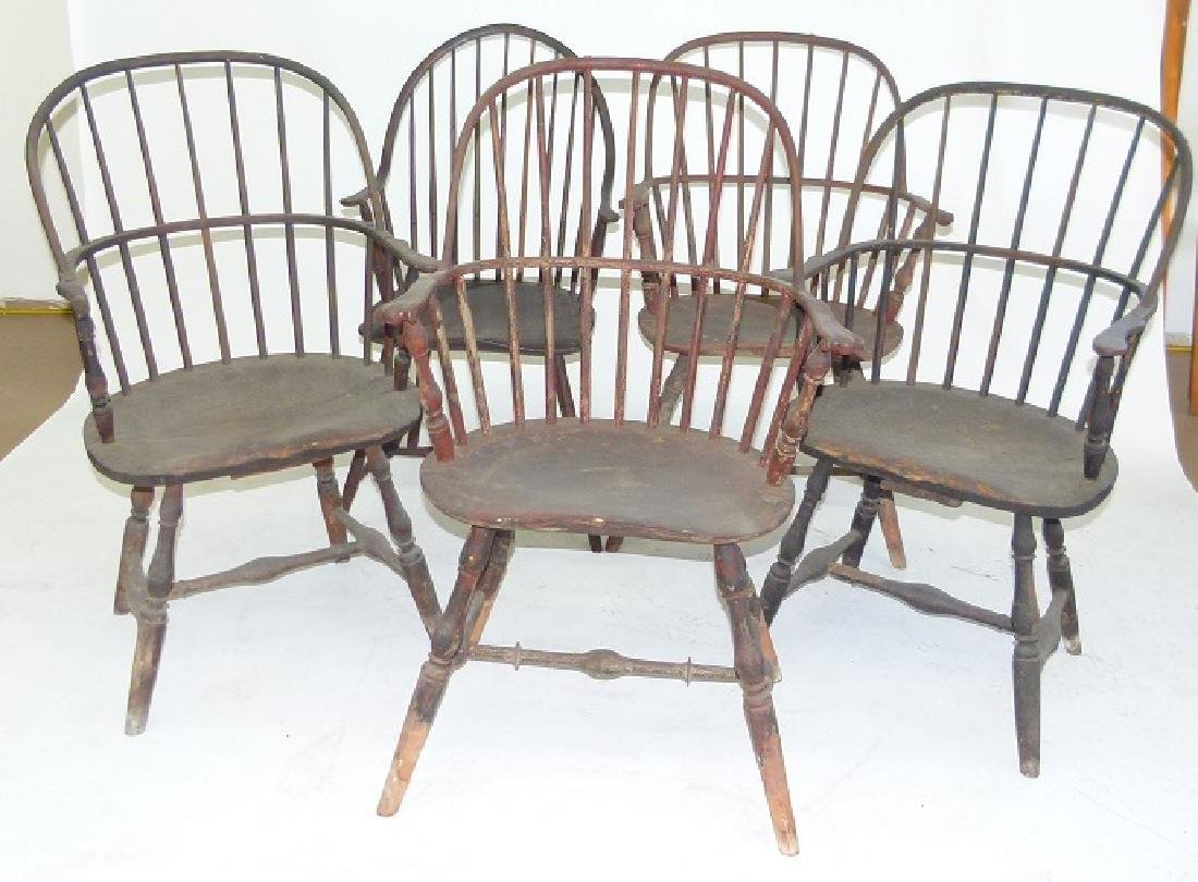 LOT (5)SACK BACK ARM WINDSOR CHAIRS, 18TH C.