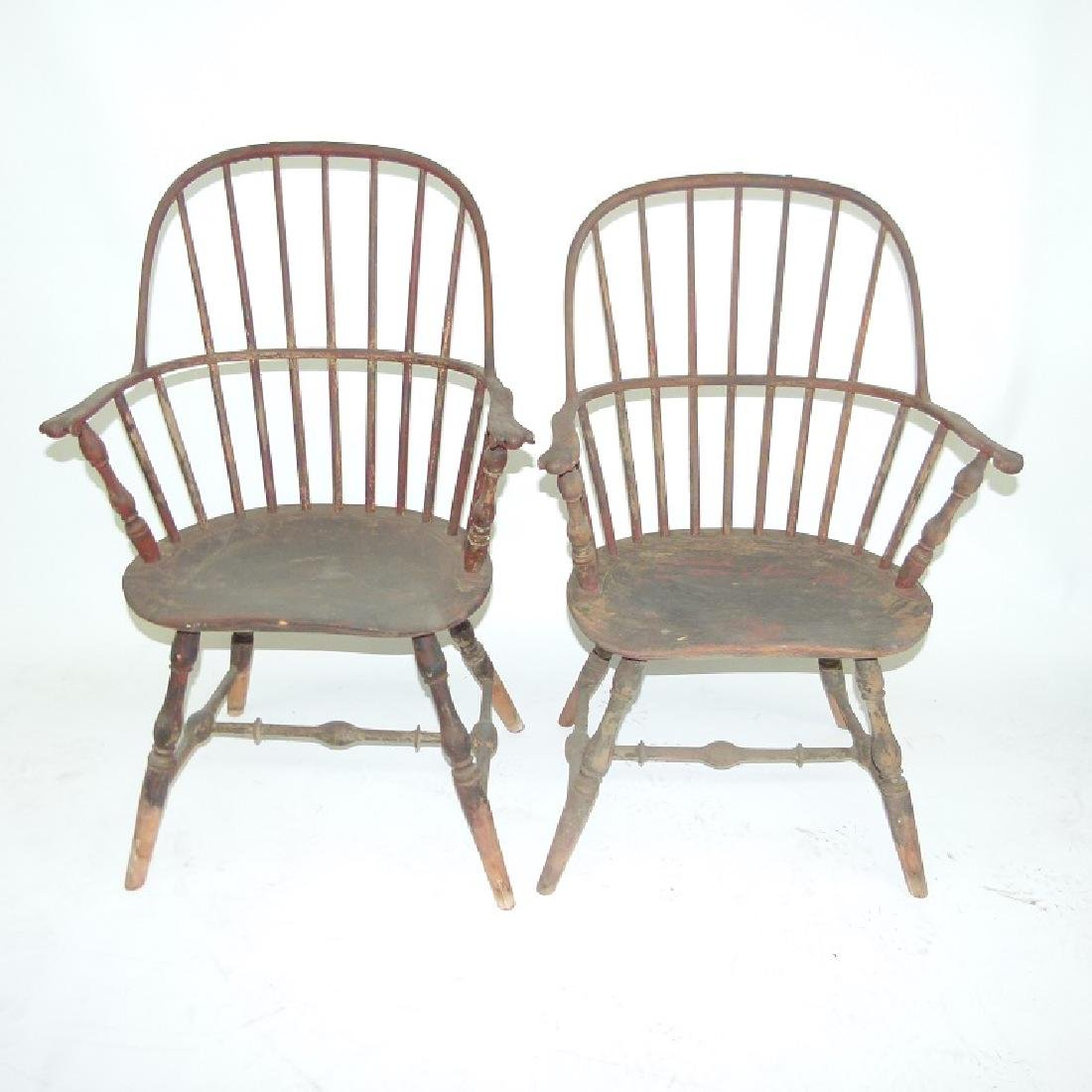 LOT (5)SACK BACK ARM WINDSOR CHAIRS, 18TH C. - 2