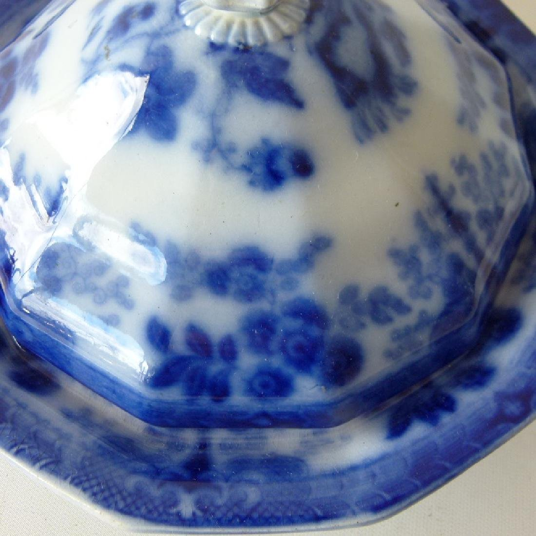 FLORAL  FLOW BLUE IRONSTONE COVERED BUTTER - 3