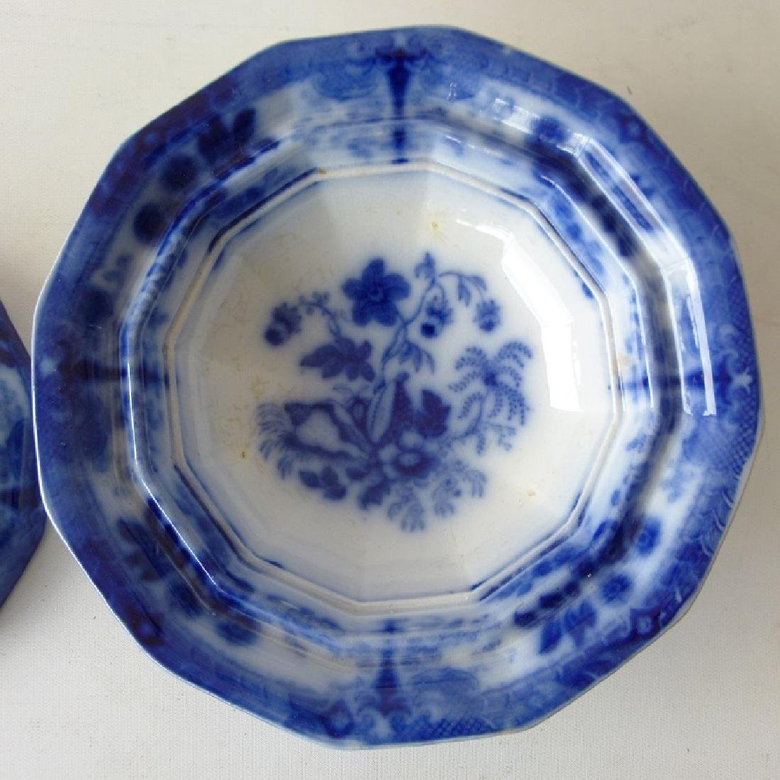 FLORAL  FLOW BLUE IRONSTONE COVERED BUTTER - 6