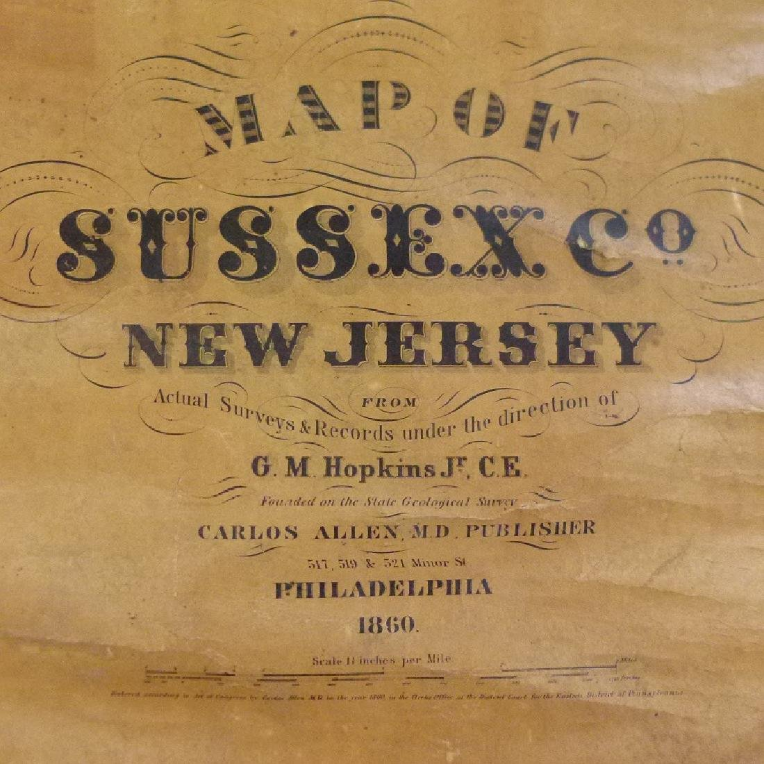 SUSSEX COUNTY  NEW JERSEY MAP, HOPKINS 1860