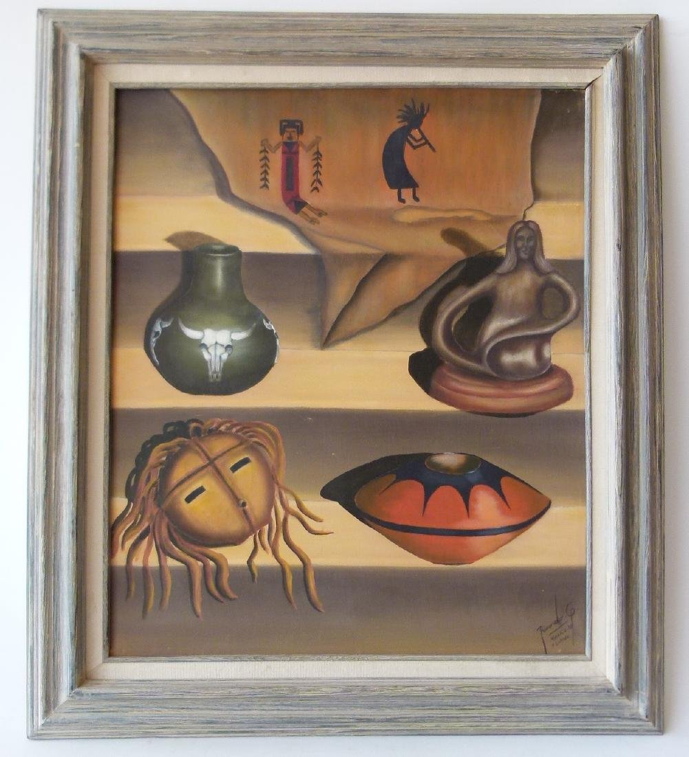 O/C STILL LIFE W/ INDIAN ARTIFACTS SIGNED