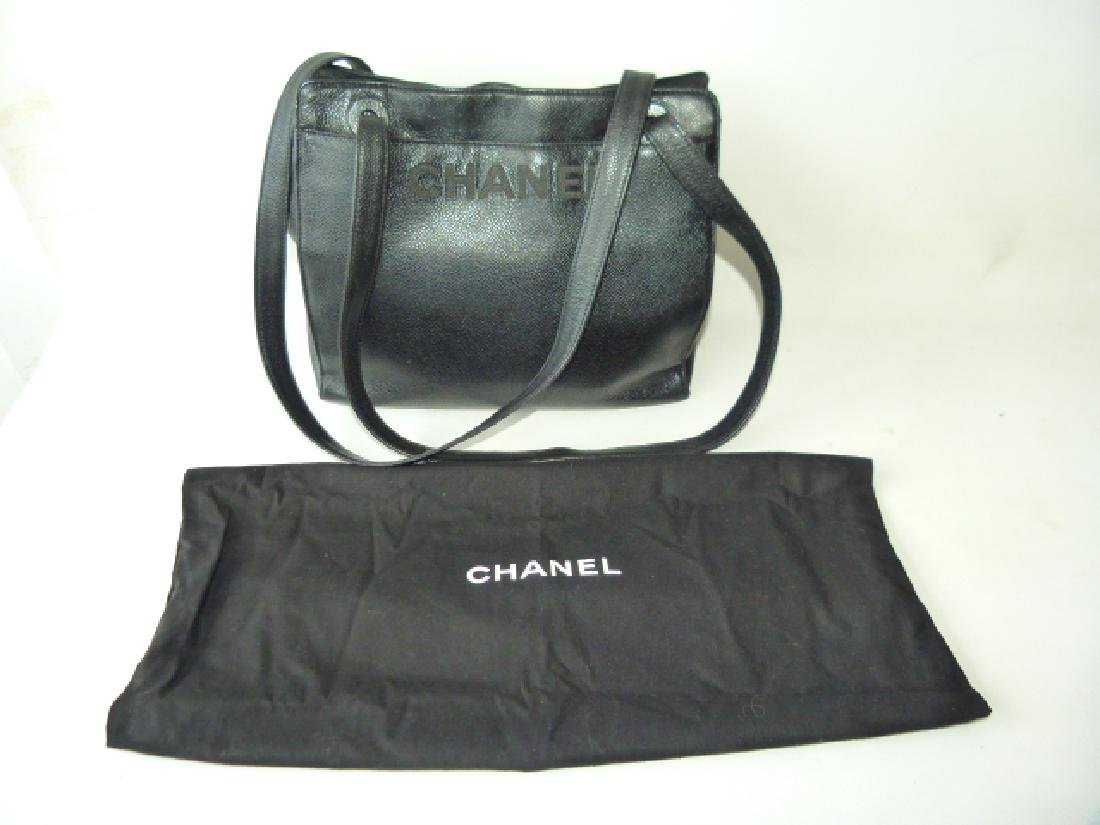 CHANEL BLACK LEATHER PURSE, 1980'S - 4