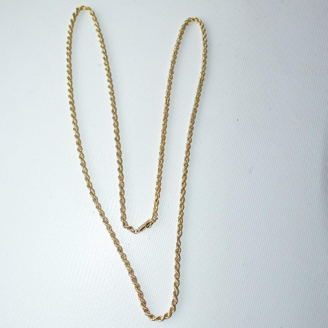 MODERN 14KT YELLOW GOLD ROPE NECKLACE - 2