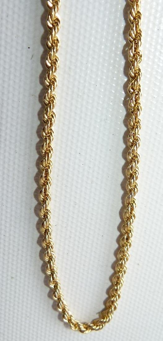 MODERN 14KT YELLOW GOLD ROPE NECKLACE - 3